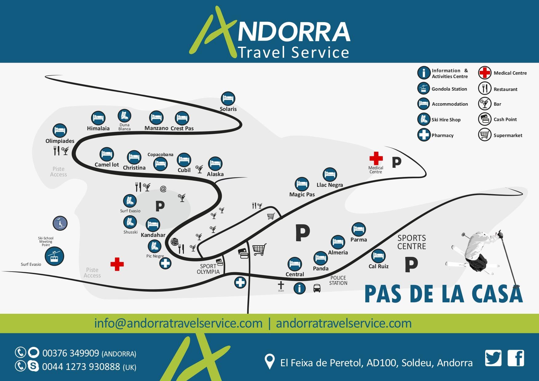 Pas de la casa resort map andorra travel service - Webcams pas de la casa ...